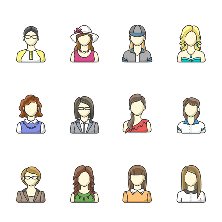 Icon set of different woman character in line style. Female, girl, business woman avatars. Vector illustrations isolated on white background. Illustration