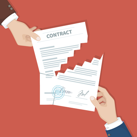 Contract termination concept. Two businessman hands tearing document apart. The end of agreement. Vector illustration in flat design for business concept. View from above Stock Illustratie