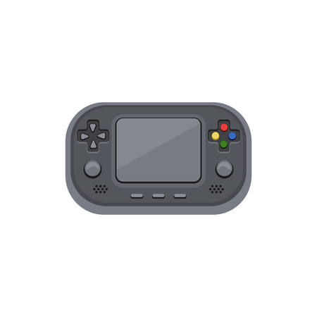 portable console: Handheld game console. Electronic game with the screen, buttons, adjustment slider. Cartoon vector icon.
