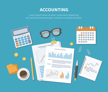 Accounting concept. Financial analysis, analytics, data capture, planning, statistics, research. Documents, forms, charts, graphs, calendar, calculator, notebook, coffee, pen on the table. Top view. Illustration
