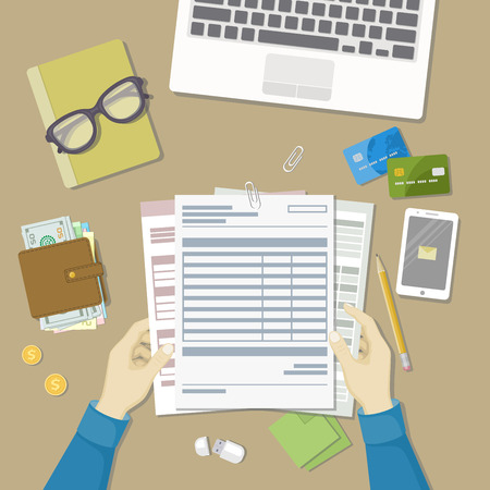 checking accounts: Man working with documents. Human hands hold the accounts, payroll, tax form. Workplace with papers, blanks, forms, phone with message, wallet with money, credit cards, glasses, notepad Top viewVector