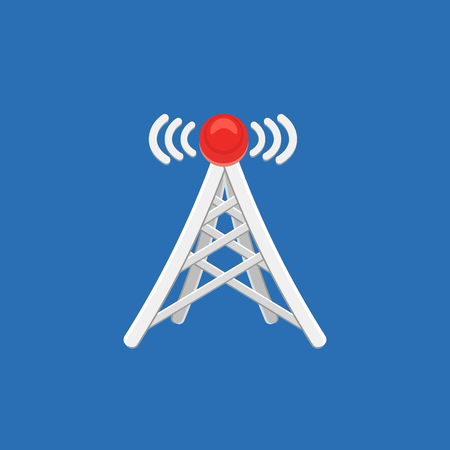telephone mast: Antenna tower icon with signal. Vector illustration.