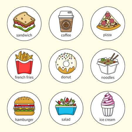 Set of fast food icons. Drinks, snacks and sweets. Colorful outlined icon collection. Sandwich, hamburger, pizza, donut, shake, salad, coffee, ice cream, noodles Vector illustration in a circle. Set1 Illustration