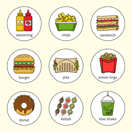 Set of fast food icons. Drinks, snacks and sweets. Colorful outlined icon collection. Sandwich, burger, pita, donut, shake, chips, kebab, seasoning, onion rings. Vector illustration in a circle. Set 2