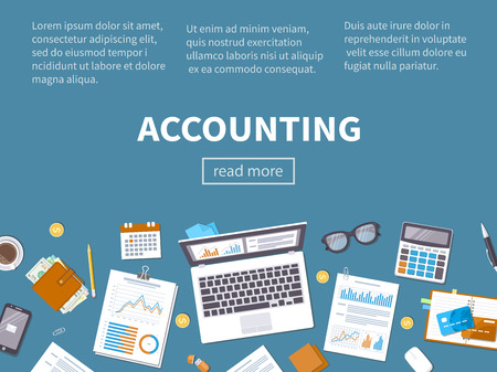 Accounting concept. Financial analysis, analytics, data analysis, planning, statistics, research. Documents, forms, charts, graphs, calendar, calculator, notebook, coffee, pen on the table. Top view.