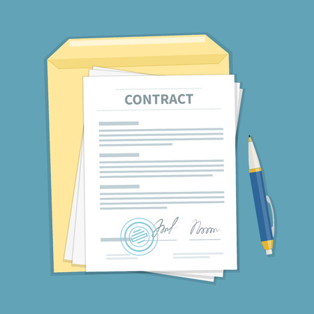 financial agreement: Signed a contract with stamp, envelope, pen. The form of document. Financial agreement concept. Top view. Vector illustration.