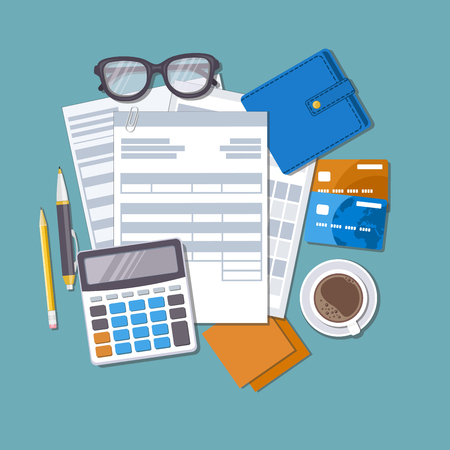 checking account: Concept of tax payment and invoice. Forms, documents, wallet, credit cards, calculator, pen, pencil, coffee, glasses, stickers for notes. Vector illustration.