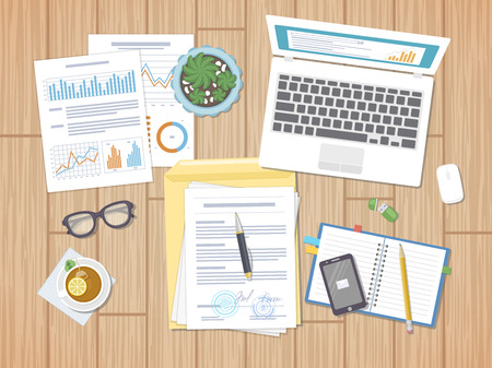Working environment, business concept, work days, agreement, strategy, analysis, audit. Illustration