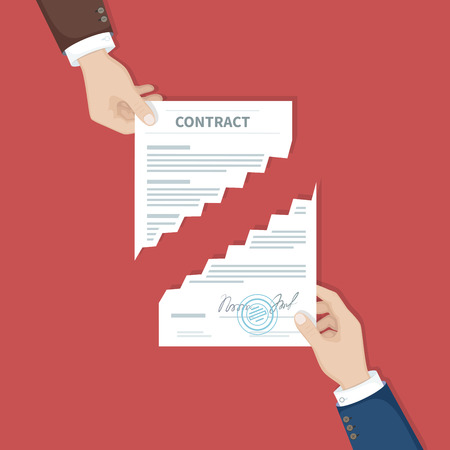 Contract termination concept. Two businessman hands tearing document apart. The end of agreement. Vector illustration in flat design for business concept. Top view Illustration