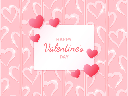Happy Valentine's Day. Greeting card with hearts on the abstract hearts background.