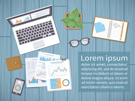 Desktop with documents, forms, graphs, notebook, laptop, phone, glasses, purse. Place for an inscription. Illustration