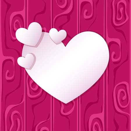 Happy Valentine's Day. Greeting card with white hearts on the abstract background. Place for an inscription.