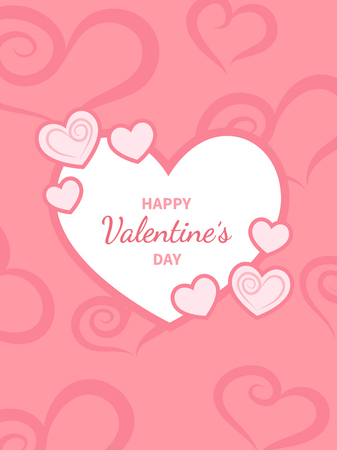 Happy Valentine's Day greeting card. White heart with an inscription in the middle.