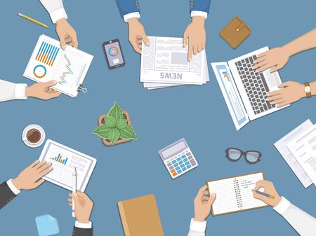 Teamwork, zakelijke bijeenkomst concept. Planning, rapporten, bedrijfsbeheer.
