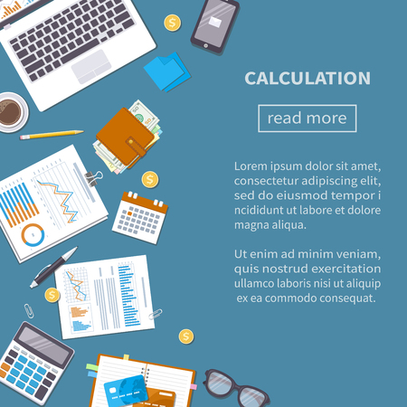 Calculation concept. Tax accounting. Financial analysis, analytics, data capture, planning, statistics, research.
