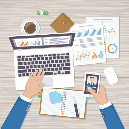 Businessman working in the workplace at the desk. Hands on laptop with phone, documents, forms, notebook, wallet, coffee. Organization, planning, analysis, management. Top view office work table Illustration