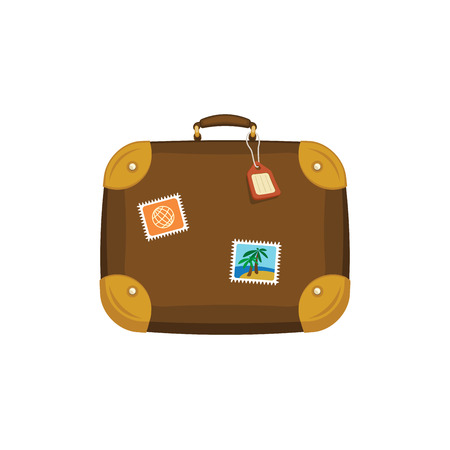 Brown travel bag suitcase with stickers, tag, label on isolated white background. Summer handle luggage. Illustration