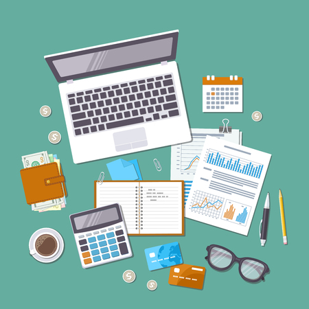 Accounting concept. Tax day. Financial analysis, tax payment, pay day, calculation, statistics, research. Forms, charts, graphs, calendar, calculator, wallet, money, credit card, coins, desk Top view.