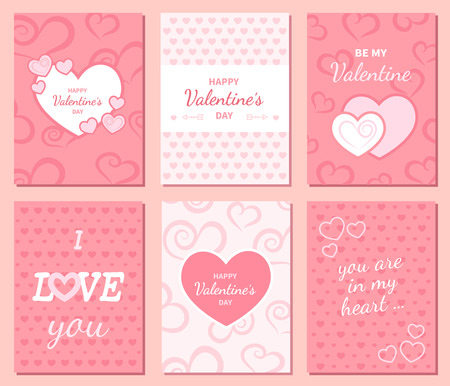 Set of Happy Valentine's Day greeting and invitation cards. Hearts, inscription in the middle. Festive romantic cute love background. Poster design. Vector illustration.