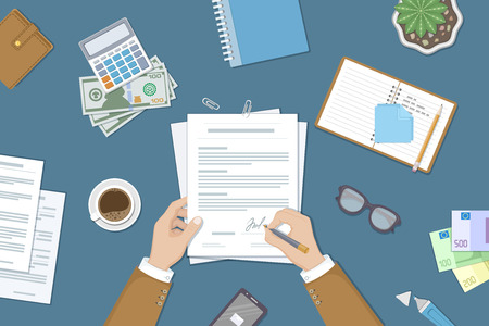 signing: Businessman signing a document. Man hands with pen and contract. The process of business financial agreement. Document with a signature. Desk with money purse notebook. Vector illustration top view