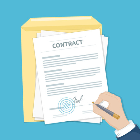 Businessman signing a contract. Man hand with pen, document and envelope. The process of business financial agreement. Document with a signature and a stamp. Vector illustration top view Illustration