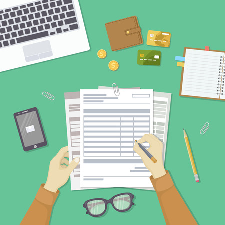 Man filling documents. Men's hands hold the accounts, payroll, tax form. Workplace with papers, blanks, laptop, phone with message, wallet, credit cards, coins, notebook, glasses, pen. Top view Vector