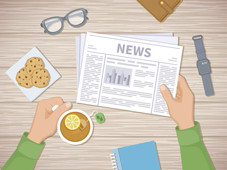 Man reading the latest news at breakfast. Human hands holding tea with lemon and newspaper, cookies, glasses, smart watch, notebook, purse. A good start of the day before working. View from above. Illustration