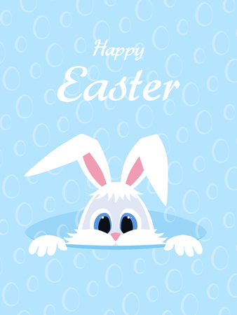 Happy Easter greeting card with eggs background and rabbit. Illustration