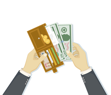 Open wallet with cash money and credit cards, gold coins, checks, driver's license. Illustration