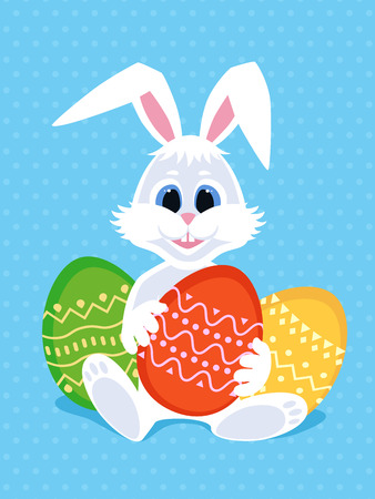 Happy Easter greeting card with eggs and rabbit. White cute Easter Bunny with colorful eggs. Vector illustration. Illustration