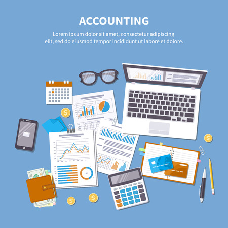 Accounting concept. Financial analysis, tax payment, pay day, calculation, statistics, research.