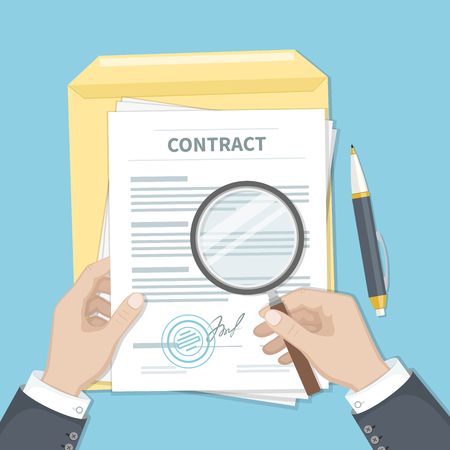 Contract inspection concept. Businessman hands holding magnifying glass over a contract. Contract with signature and stamp. Research documents.