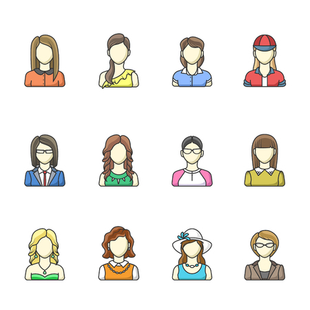 adolescent: Icon set of different woman character in line style. Female, girl, business woman avatars.