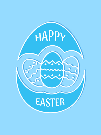 Happy Easter design, emblem, icon with eggs. Happy Easter greeting card. Vector illustration. Illustration
