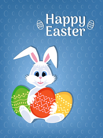 Happy Easter greeting card with eggs and rabbit. White cute Bunny with colorful eggs and Easter wording. Vector illustration.