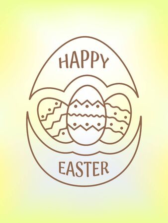 Happy Easter  emblem, icon with eggs. Happy Easter greeting card. Vector illustration. Illustration