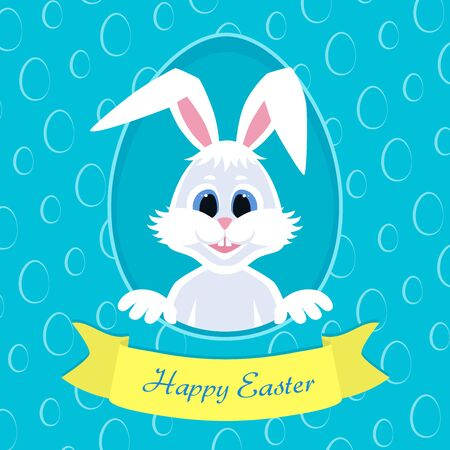 Happy Easter greeting card with eggs background and rabbit. White cute Easter Bunny peeking out of a hole. Ribbon with inscription. Colorful vector illustration.