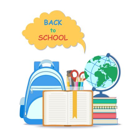 Back to school concept. Open book with a bookmark and school supplies such as a backpack, textbooks, notebook, globe, stationery set. Flat Style Education Concept. Vector illustration.