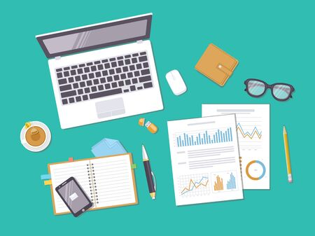 Documents with charts, graphs, leptop, notebook, phone, purse, glasses. Preparation for work, analysis, report, accounting, reaserch. Business concept background. Top view. Vector illustration