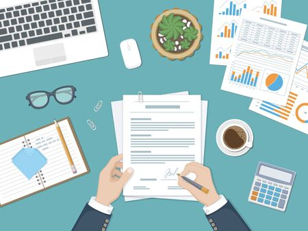 Businessman signing a document. Man hands with pen and contract. The process of business financial agreement. Document with a signature. Desk with forms, charts, laptop, calculator, glasses and coffee  イラスト・ベクター素材