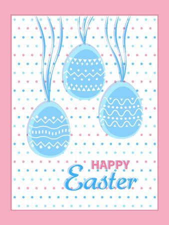 Happy Easter greeting card. eggs with stripes and circles ornamental patterns on ribbons. Holiday card template. Vector illustration. Illustration