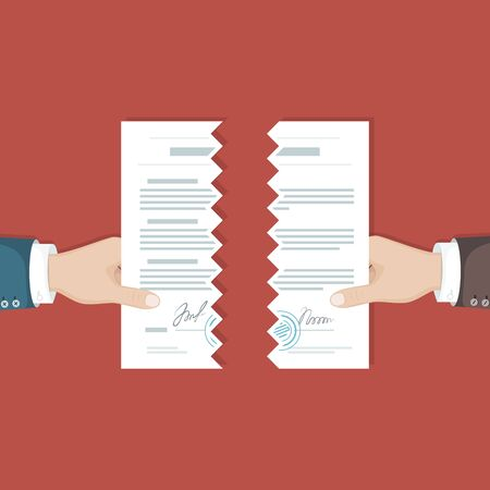 Contract termination concept. Two businessman hands tearing paper document apart. The end of agreement. Vector illustration in flat design for business, finance concept. View from above