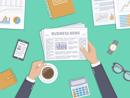 Business news. Businessman holding a newspaper and coffee cup on the desktop. Coffee break, breakfast, lunch, documents, purse, calculator, notebook, glasses, watch. Top view. Vector illustration. Illustration