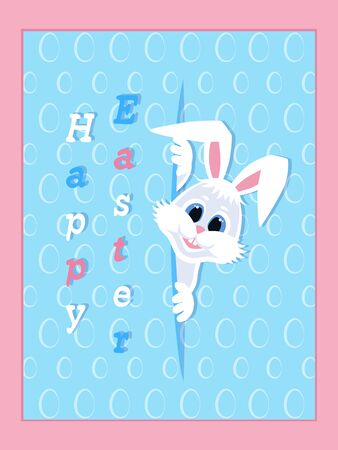 Happy Easter greeting card with eggs background and rabbit. White cute Easter Bunny peeking out of a hole. Festive Design. Vector illustration.