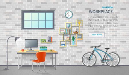 Stylish and modern office workplace. Room interior with desk, chair, monitor, shelves, office supplies, bicycle. Brick background. Detailed vector illustration for a horizontal web banner.