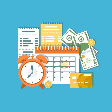 Tax payment day concept. Income federal taxation, monthly installment, time period. Financial calendar, clock, money, cash, gold coins, credit card, invoices. Payday icon. Vector illustration Illustration