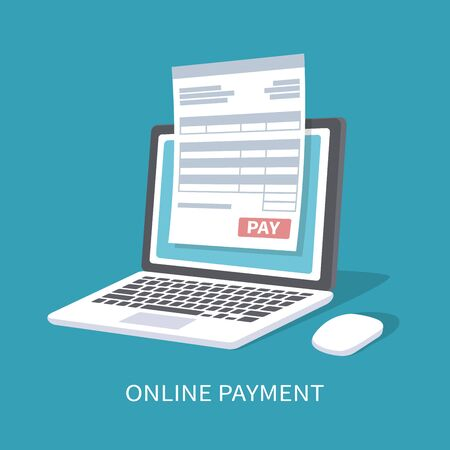Online payment service. Document form on the laptop screen with a pay button. Vector illustration isolated. Illustration