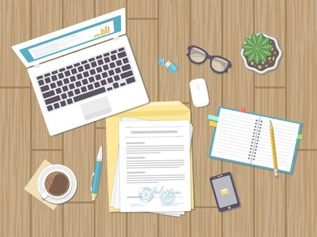 Business concept, agreement, strategy, analysis, audit. Workplace, contract signing. Documents, laptop, notebook, glasses, envelope, phone, pot. Vector illustration.