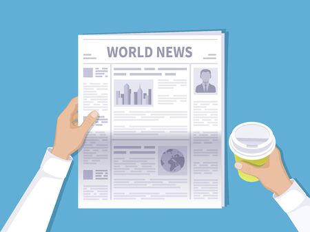 Human hands holding newspaper and disposable coffee cup. The latest world news for the morning coffee. Newspaper with photos, text and headlines in flat cartoon style. Vector illustration Top view. Illustration