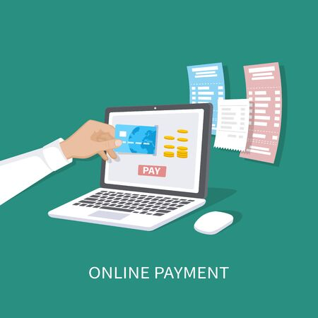 Online payment concept. Payment of bills, checks, online shopping via mobile app. E-commerce, electronic business. Man's hand with a credit card and laptop. Vector illustration